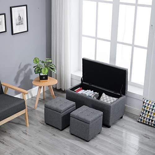 Samincom Set di 3 Pezzi di stoviglie da Tavolo/cubo con poggiapiedi H44 x L84 x P45cm, Grigio