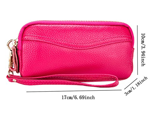 iSuperb Leder Clutch Unterarmtasche Handtasche Damenhandtaschen Abendtasche Geldbörse 17x10x3CM Rose