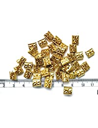 Matte Gold Finish Pipe Beads For Jewellery Making, Craft Works, Pack Of 300 Nos - B07GMCZ2PW