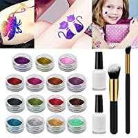 Glitter Tattoos Kit Xpassion Temporary Tattoo Make Up Body Nail Glitter Art Design for Girls Kids Teenager Adult, with 15 Colors of Glitter, 48 Sheets Unique Tattoo Stencil, 2 Glue, 2 Brushes