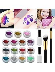 Tatouages Temporaires Maquillage Xpassion Tatouage Paillette Set de Maquillage Peintures pour Body Art -15 x Poudre Scintillante 48 Pochoir Creux 2 Colle Scintillante 2Pinceaux