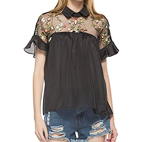 Petalum Women T-shirt Blouse Embroidered Sheer Neck Casual Ruffle Cuff Collared Tunic Top Short Sleeves Beach Cocktail Party (UK 16-18,