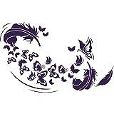 Pegatinas de Pared (–Vinilos decorativos para salón plumas Mariposas, metal, 040 violeta, 48 x 30 cm