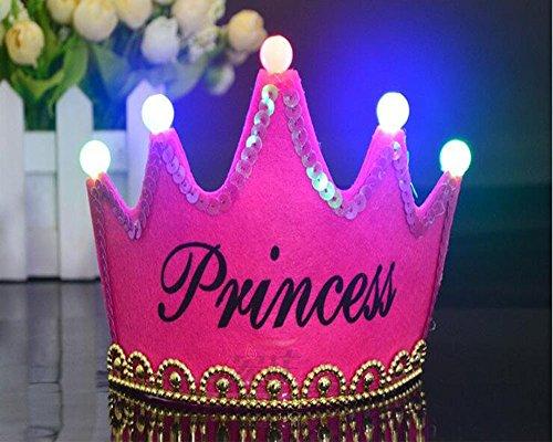 Verkauf Hüte Kostüm Zum - OFT Prinzessin / Prinz Königskrone Krone Diadem Tiara Geburtstag Kopfschmuck mit Led Lampe für Kinder (rose Princess)