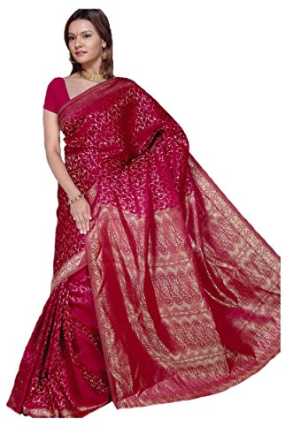 Trendofindia Indischer Bollywood Fashion Sari Stoff Damenkostüm Kleid Bordeaux CA101