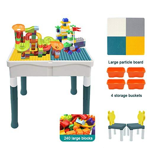 QPP-CL Kinder Baustein-Spielzeug Tisch, Großer Korntisch Mit 2 Stühlen Und 4 Lagerung Eimern Für Einfache Lagerung, Weiterbildung Früherziehung Für Kinder,B