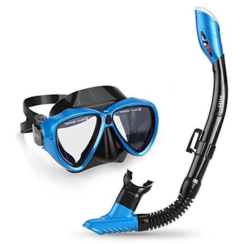 INTEY Schnorchelset Taucherbrille mit Schnorchel, Dry Schnorchel Schnorchelmaske inkl. Ausblasventil und Anti-Fog Taucherbrille aus Gehärtetem Glas für Erwachsene und Kinder, Blau/Schwarz