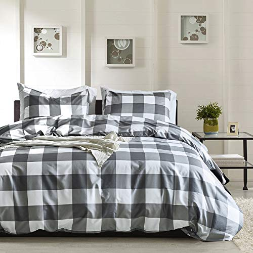 Bettwäsche Kariert 135x200 Einzelbett Grau Weiß Muster Drucken Polyester 1 Bettbezug 135x200 mit 1 Kopfkissenbezug 80x80 ohne Füllung