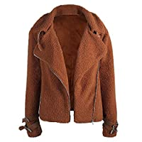 Discount Boutique Women Jacket Coat Teddy Bear Jacket Fleece Lapel Outwear Autumn Winter Casual Loose Notch Collar Warm Ladies Cardigan Motorcycle Jacket Brown