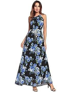 Moda Vestido | Vestido para mujer Vestidos europeos y americanos | colgando del cuello con una falda larga correa...
