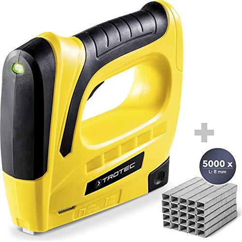 TROTEC Akku-Tacker PTNS 10‑3,6V DIY Akku Tacker Nagler (Klammerlänge 6-8 m Nagellänge 10 mm, inkl. 1000 Klammern (6 mm) + Tackerklammern-Set Typ 53 / 8mm