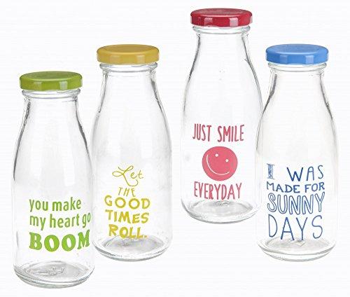 4x Glas Trinkflasche mit Deckel 275ml bunte Glas Flasche 4 Farben Bedruckt