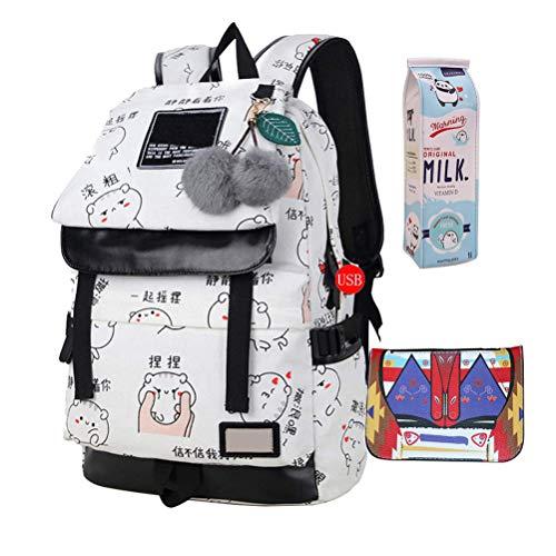 JUND Damen Mode Schultasche Kawaii Druck Rucksack Mädchen Lässig Wasserdicht Backpack Schule Teenager Daypack -