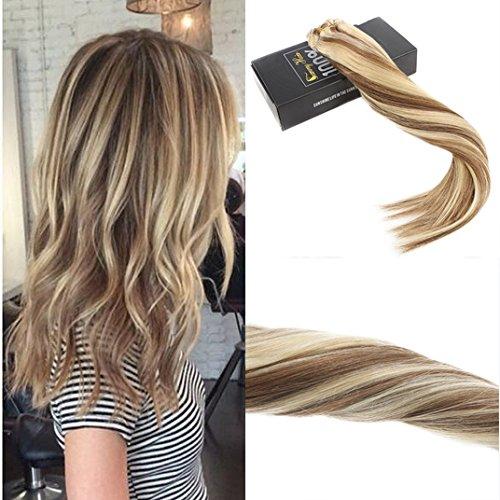 Sunny multi colorati clip in extensions per capelli marrone chiaro highlight con bionda 14pollice/35cm lisci remy estensioni clip in capelli 120g/7pcs