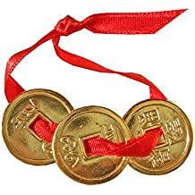 Générique - 3 monedas Feng Shui, oro de 24 K y cinta