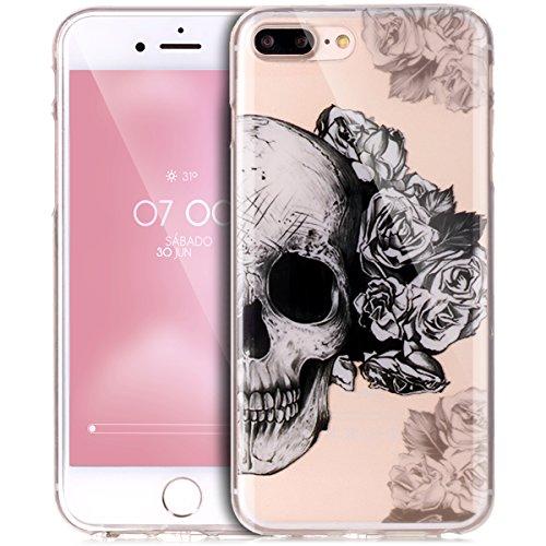 Kompatibel mit Hülle iPhone 8 Plus/7 Plus Hülle,Durchsichtig Bunte Gemalt Transparent TPU Silikon Hülle Handyhülle Tasche Case Cover Kristallklar Schutzhülle für iPhone 8 Plus/7 Plus,Rosen Schädel