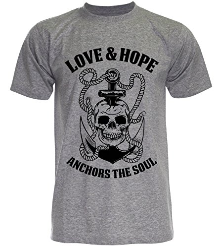 PALLAS Unisex's Anchor Sailor Love and Hope Vintage Funny T Shirt Grey