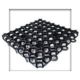 Rasengitter 50x50x4 cm schwarz Rasengitterplatten Rasenwaben Rasenmatten mit Bodenkreuzen Bodenwaben