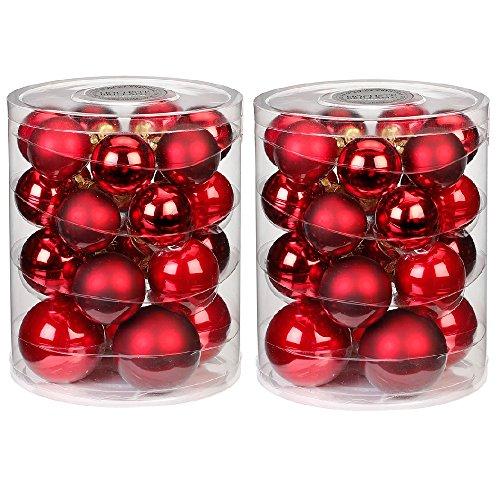 Inges Christmas Decor Lot de 24 Boules de Noël en Verre de 5-7 cm Rouge, Lot de 48