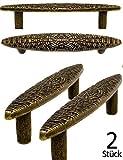FUXXER® - 2 Antik Griffe | Küchen Schubladen Kommoden Truhen | Bronze Design | Vintage Landhaus Retro | 2er Set inkl. Schrauben, bronze