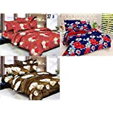 JASS HOME DECOR Combo Set Of 3 Grace Cotton King Size Double Bedsheet With 6 Pillow Covers - (Multicolour)