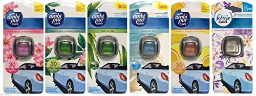 Mix-fusion (6x Febreze / AMBI PUR car Autoduft Lufterfrischer MIX SORTEN [Vanille ,Ocean and Wind ,Reinforest Breeze, Flowers and Spring, Fresh New Day, Citrus Fusion])