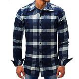 Herren Hemden Langarm Shirt,MEIbax Lattice Denim Long-Sleeve Beefy Knopf Männer Business Slim-Fit Hemd Casual Langarm-Shirt Basic Solid Bluse T-Shirt Top(Dunkelblau,M)