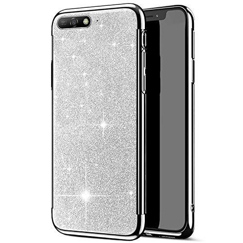 kompatibel mit Huawei Y6 2018 Hülle,Huawei Y6 2018 Handyhülle,JAWSEU Glänzend Glitzer Strass Silikon Schutzhülle Case,Crystal Clear TPU Silikon Handytasche Schutzhülle für Huawei Y6 2018,Silber