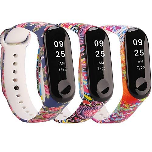 Moretek für Xiaomi Mi Band 3 Armband,Silikon Wasserdichtes Ersatz-Armband Ersatzband Bracelet für Xiaomi Mi Band 3 Fitnessarmband Zubehör (Watercolor/BlueRose/Folk 3pcs)