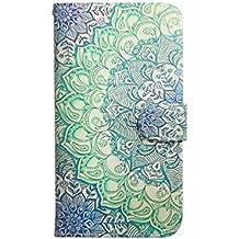 Funda para Sony Xperia M2 Auqa,Funda de Cuero Cartera Piel Carcasa para Sony Xperia M2 Wallet Cover Case-Flor