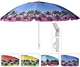 Sonnenschirm Ø 160 cm UV Schutz knickbar Schirm mit Palmen Urlaub Strandschirm (blau mit orangenem Rand)