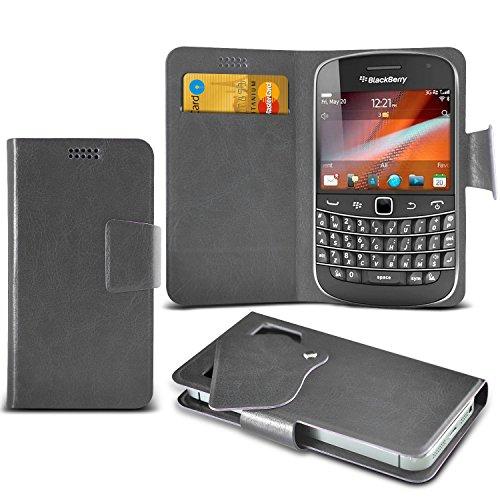 Preisvergleich Produktbild (Grey) Blackberry Bold Touch 9900 Schutzhülle Mega Dünn Faux Leder Saugnapf Tasche Case Cover hülle mit Kredit- /Debitkarte Steckplätze Aventus