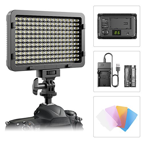 Luz LED de Video,luz Ultra Brillante Regulable de ESDDI 176 LED Panel para Canon, Nikon, Pentax, Panasonic, Sony, Samsung, Olympus y Otras cámaras SLR/videocámaras Digitales