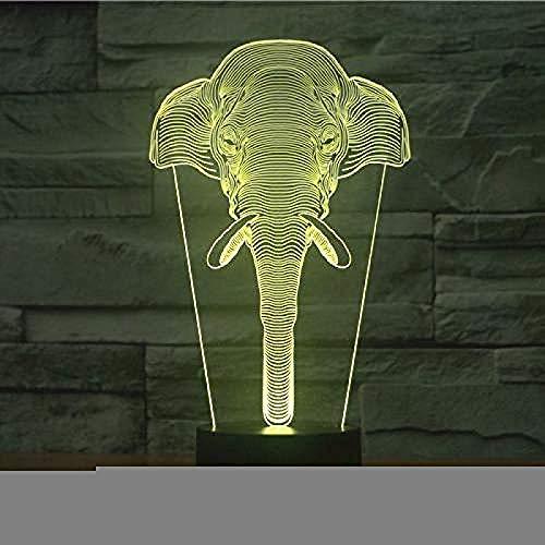 Luces de noche Luces 3D Luces de colores Elefantes visuales Lámparas de...