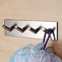 3M Self Adhesive Coat Hooks, Vzer Heavy Duty 304 Stainless Steel Decorative Sticky Wall Mounted Hook Hats Keys Hooks for Bathroom Kitchen, Brushed Finish