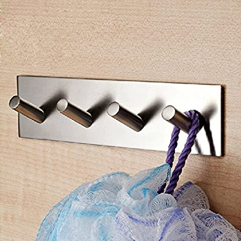 3M Self Adhesive Coat Hooks, Vzer Heavy Duty 304 Stainless Steel Decorative Sticky Wall Mounted Hook Hats Keys Hooks for Bathroom Kitchen, Brushed