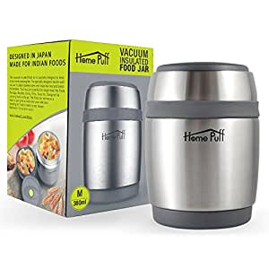 Home Puff Double Wall Vacuum Insulated Stainless Steel Food Jar, 380 ml, Grey