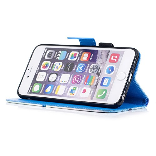 Custodia iPhone 6 Plus / 6S Plus Cover ,COZY HUT Flip Caso in Pelle Premium Portafoglio Custodia per iPhone 6 Plus / 6S Plus, Retro Animali di cartone animato Modello Design Con Cinturino da Polso Mag Bellissime campane
