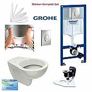 Grohe Spülkasten Vorwandelement Wc Set + Design WC, CHROM Drückerplatte, Komplett