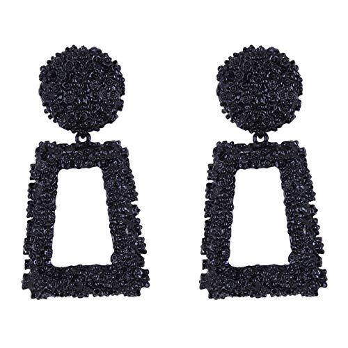 Jasnyfall Punk Style Frauen Große Geometrische Anhänger Lange Baumeln Ohrringe Modeschmuck geometrische Ohrringe für Frauen geometrische Ohrringe Farbe: schwarz