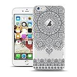 HULI Design Case Hülle für Apple iPhone 6 / 6s Smartphone im Orientalischen Muster Graphit - Schutzhülle aus Silikon mit orientalischem Mandala Henna Ornament Traumfänger - Handyhülle mit Druck