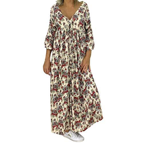 Mosstars Vestidos Mujer Casual Manga Larga Mujer Loose Vestido Largo c