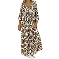 VonVonCo Women Casual Wild Elegant Party Ladies Loose Plus Size Print Long Sleeve V-neck Long Maxi Dress Yellow XL