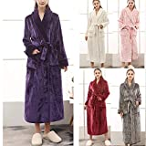 WWricotta Women's Winter Lengthened Coralline Plush Shawl Bathrobe Long Sleeved Robe Coat(Grün,XL)