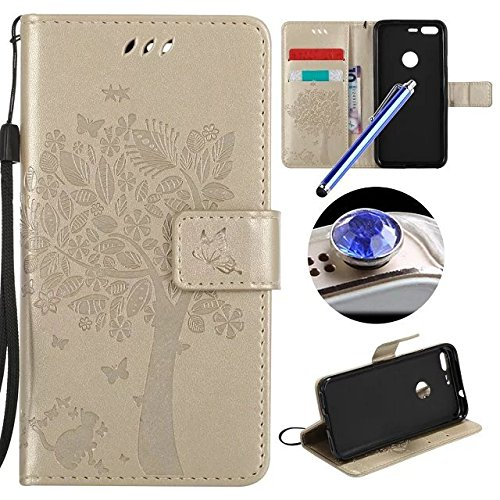 Etsue GOOGLE PIXEL Custodia Pelle,GOOGLE PIXEL Cover,Lusso Leather Flessible Morbida Puro Pu Wallet/Libro/Flip Case Con (Messenger Folio)