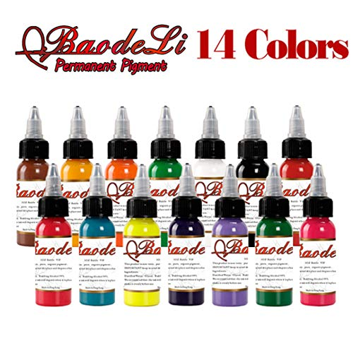 14 Farbe Tattoo Ink Set 1 Oz Körperbemalung Microblading Pigment Color Set Professionelle Permanent Tattoo Ink Tattoo Supplies