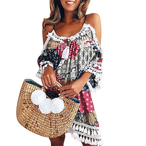 MORETIME Summer Dress for Women Plus Size Tank Top BlüMchen Leicht Super Leinenkleider KostüMe Blume Animal HäKelkleid TräGern Hosenkleid Welche Schuhe Lagen Oder Partys