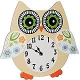 Wanduhr - Uhr aus Holz -  lustige Eule - beige / weiß  - 31 cm groß - sehr leise ! - für Kinderzimmer & Wohnzimmer - Holzuhr - Eulenmotiv / Kinderuhr - Anal..