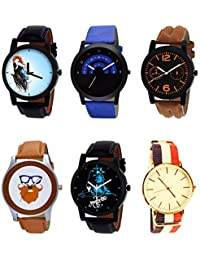 NIKOLA New Professional Mahadev Beard Style Black Blue And Brown Color 6 Watch Combo (B22-B47-B18-B55-B23-B50)...
