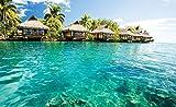 Tapeto Papel pintado fotográfico playa y Costa-Isla Caribe Mar tropicales Cabañas-Tamaño XS S M L XL XXL XXXL-Papel o papel, Azul